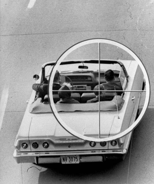 This Nov. 19, 1964 image provided by the Warren Commission shows a reconstruction of the approximate view the assassin of President John Kennedy might have had through the telescopic sight of the rifle fired from the Texas School Book Depository Building on Nov. 22, 1963. (AP Photo/Warren Commission)