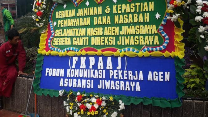 Karangan Bunga di Kementerian BUMN soal Jiwasraya (dok: Athika)