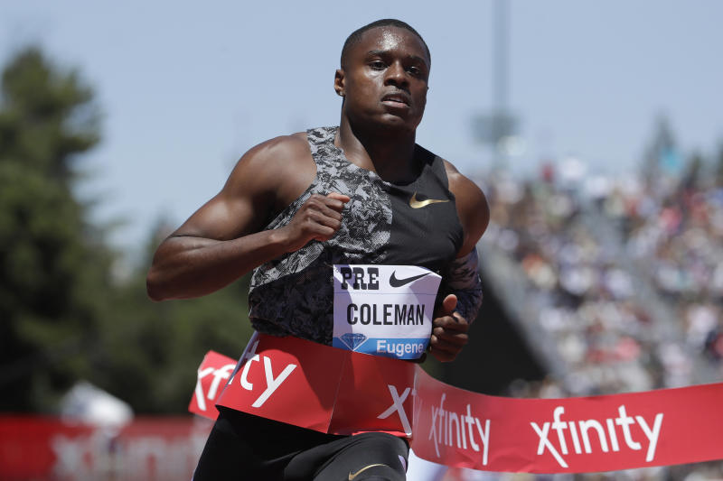 FILE - In this June 30, 2019, file photo, United States' Christian Coleman wins the men's 100-meter race at the Prefontaine Classic IAAF Diamond League athletics meet in Stanford, Calif. There have been a few high-profile names in track and field making a mess of what is supposed to be a simple process of letting drug testers know where they will be for one hour each day. World champion  Coleman and Salwa Eid Naser could miss the Tokyo Games for what are known in the anti-doping world as whereabouts failures. (AP Photo/Jeff Chiu, File)