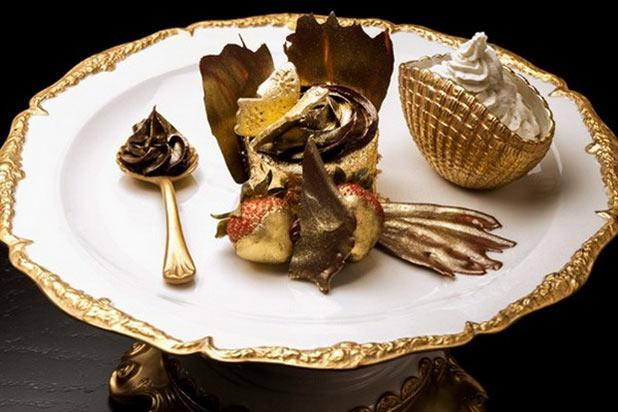 You'll probably need to order this at , but it's worth it. Arguably the world's most expensive cupcake, this Bloomsbury Café creation is made with Italian chocolate, vanilla beans from Uganda, and strawberries dipped in edible gold. It's also apparently whipped with 24-carat gold sheets. Price: $18,713