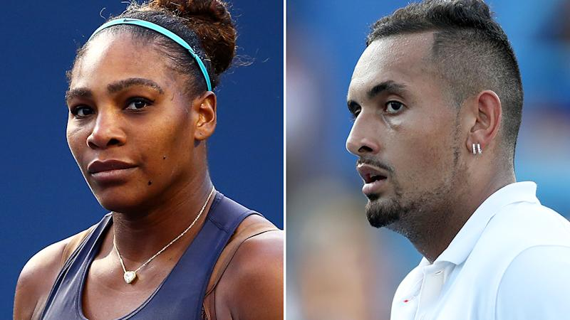 Serena Williams and Nick Kyrgios will take centre stage in the first round of the US Open in the women's and men's bracket respectively.