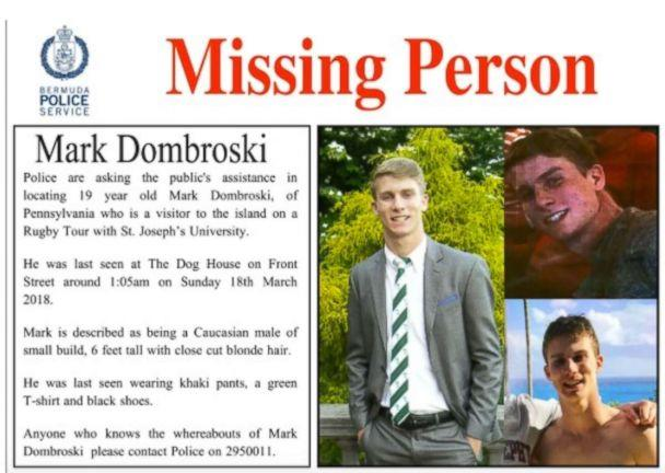 A missing person's poster was released for Mark Dombroski, 19, who went missing on a trip to Bermuda with St. Joseph's University's rugby team. (Bermuda Police Service)
