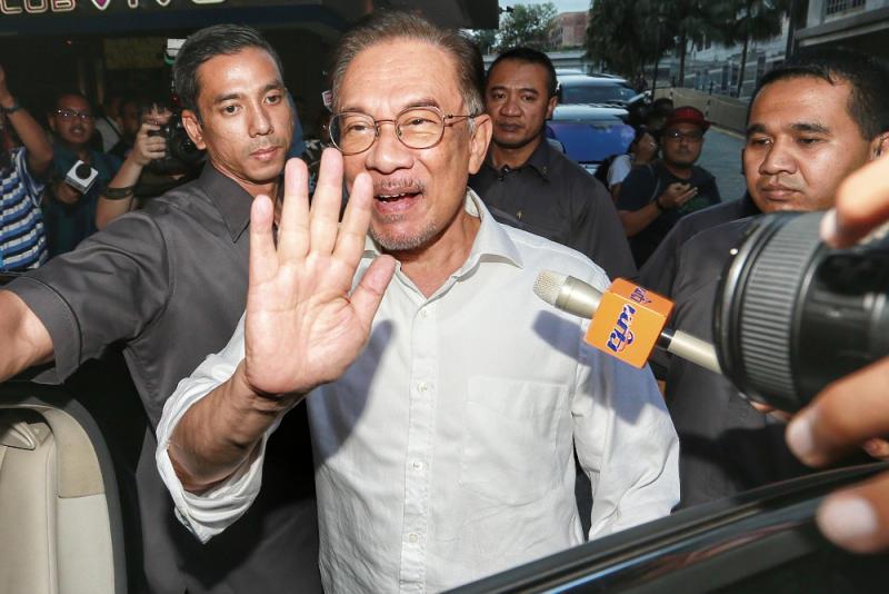 PKR president Datuk Seri Anwar Ibrahim is seen leaving the Eastin Hotel February 28, 2020. — Picture by Ahmad Zamzahuri