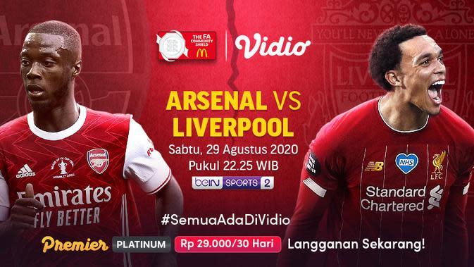 Pertandingan Community Shield Arsenal vs Liverpool bisa disaksikan via platform Vidio. (Sumber: Vidio)