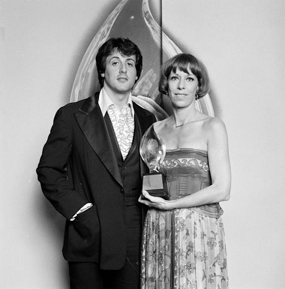 Sylvester Stallone with Carol Burnett, winner of ?Favorite All-Around Female Entertainer,? at PEOPLE?S CHOICE AWARDS 1977.