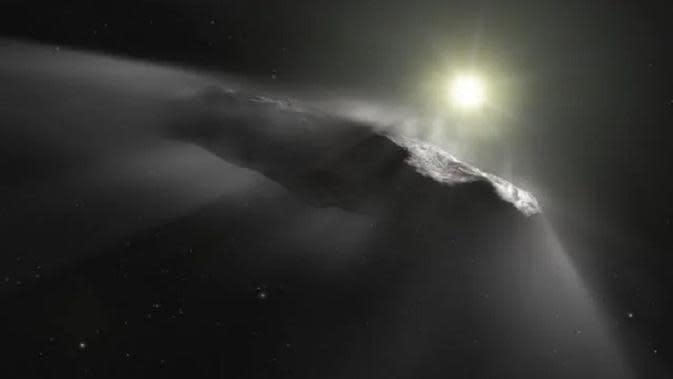 Kesan seorang seniman yang dirilis oleh European Space Agency menunjukkan objek antar bintang pertama yang ditemukan di Tata Surya, 'Oumuamua. (Sumber: AFP)