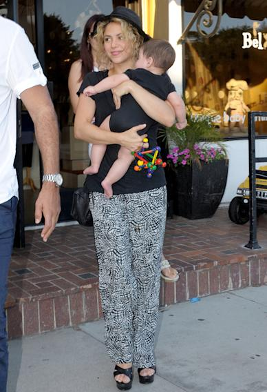 Shakira took her new born baby, Milan shopping today to the High End Baby boutique, Bel Bambini in Beverly Hills.