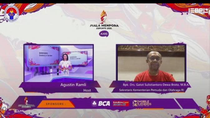 Sekretaris Kemenpora Gatot S. Dewa Broto dalam jumpa pers virtual Piala Menpora Esports 2020 di Jakarta, Sabtu (3/10/2020). (foto: istimewa)