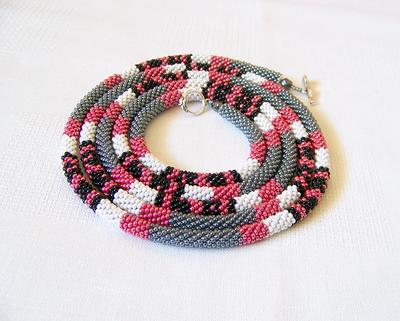beaded crochet rope necklace Solid burgundy statement necklace
