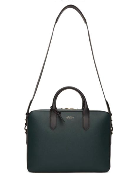 Smythson Green Leather Slim Panama Briefcase, 34% off. US$855 (was USD$1294.70). PHOTO: Ssense