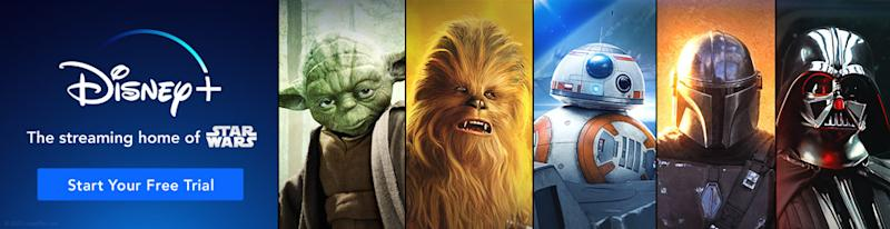 The entire Star Wars collection is now available to stream on Disney+. Image via DIsney+.