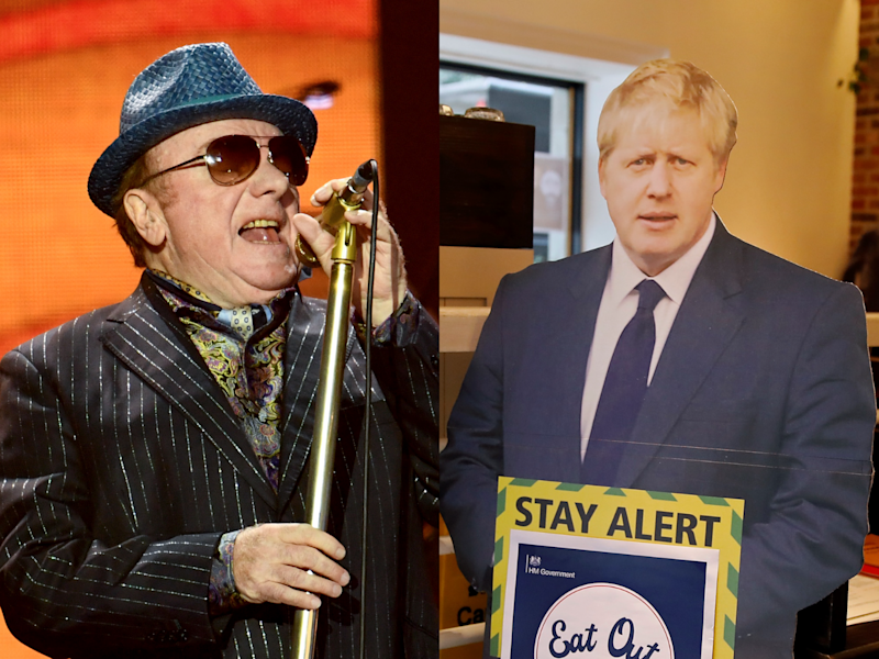 (Left) Van Morrison performing pre-lockdown, and (right) a cardboard cutout of prime minister Boris Johnson (Getty)
