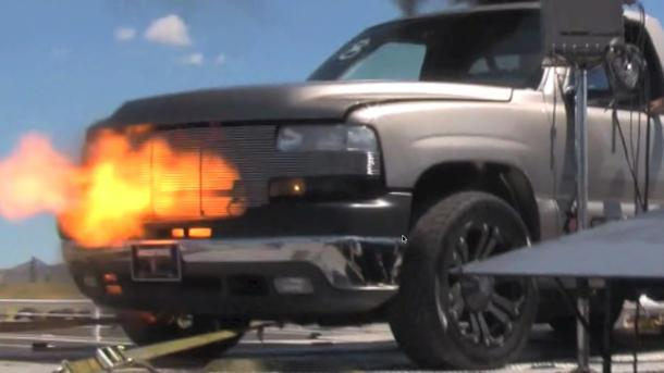 Diesel Chevy Silverado's nitrous backfire makes for a spectacular dyno blast