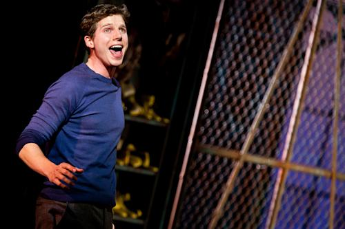 """This theater image released by The O+M Company shows Stark Sands during a performance of """"Kinky Boots."""" (AP Photo/The O+M Company, Matthew Murphy)"""