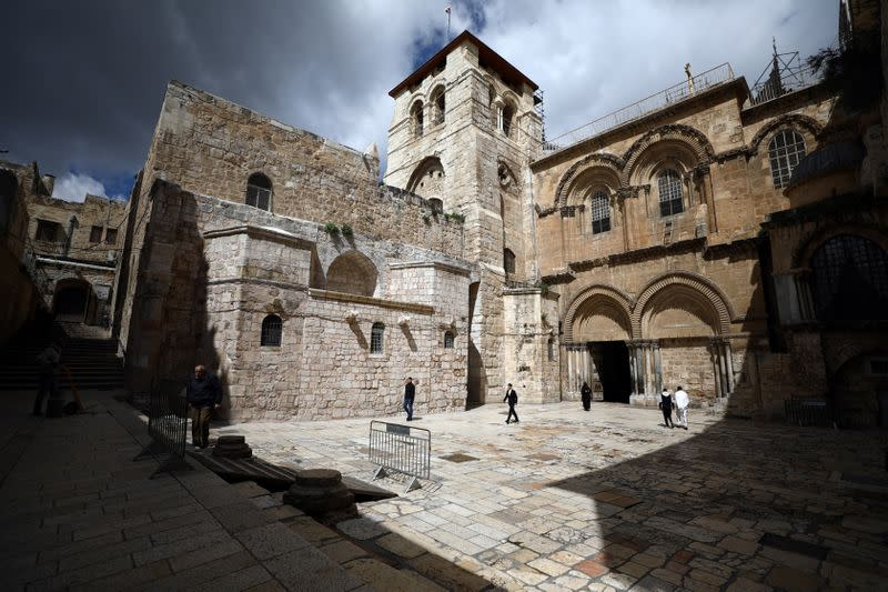 A general view shows Church of the Holy Sepulchre, revered as the site of Jesus's crucifixion and burial, in Jerusalem's Old City