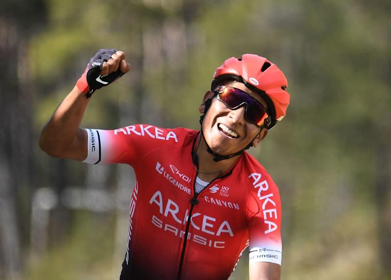 Nairo Quintana celebrates his stage win at Paris-Nice
