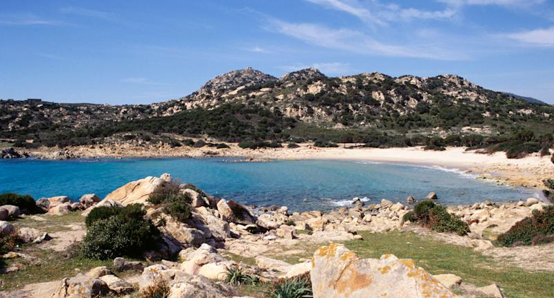 Chia beach on Italy's island of Sardinia. Two French tourists allegedly stole 40kg of sand from the beach.