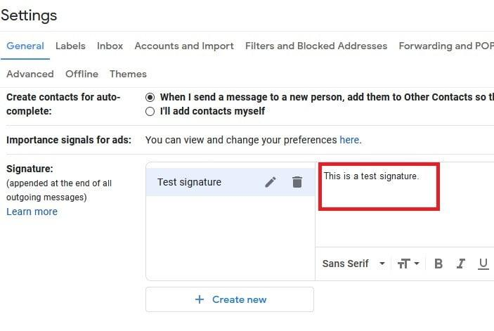 Gmail email signature screenshot