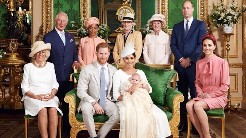 Prince Charles, Camilla, Prince Harry, Meghan, Archie, Doria Ragland, Prince William and Kate pose for family portrait after christening