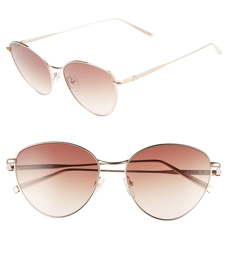 Longchamp 55mm Round Sunglasses. Image via Nordstrom.