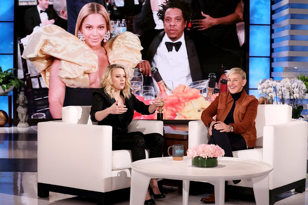 """Kate McKinnon reveals how she """"blew it"""" during her conversation with Beyoncé and JAY-Z at the 2020 Golden Globes during her guest appearance on <i>The Ellen DeGeneres Show</i> on Monday in Burbank, California."""
