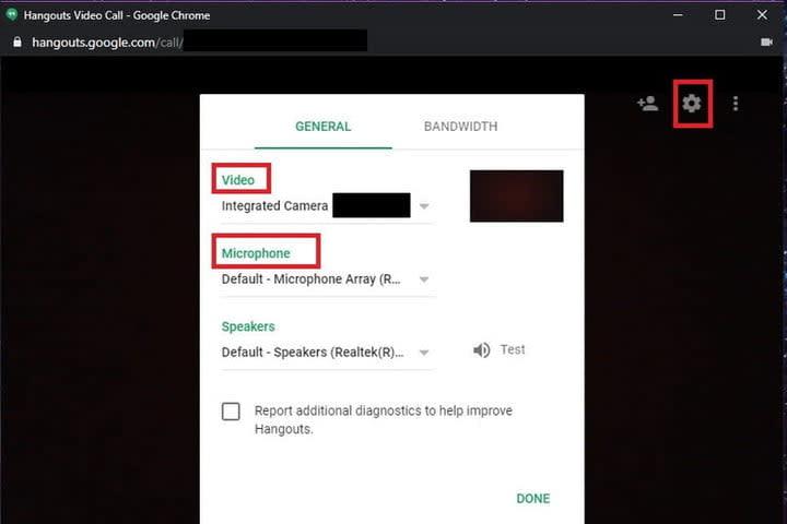 Google Hangouts webcam and microphone settings screenshot