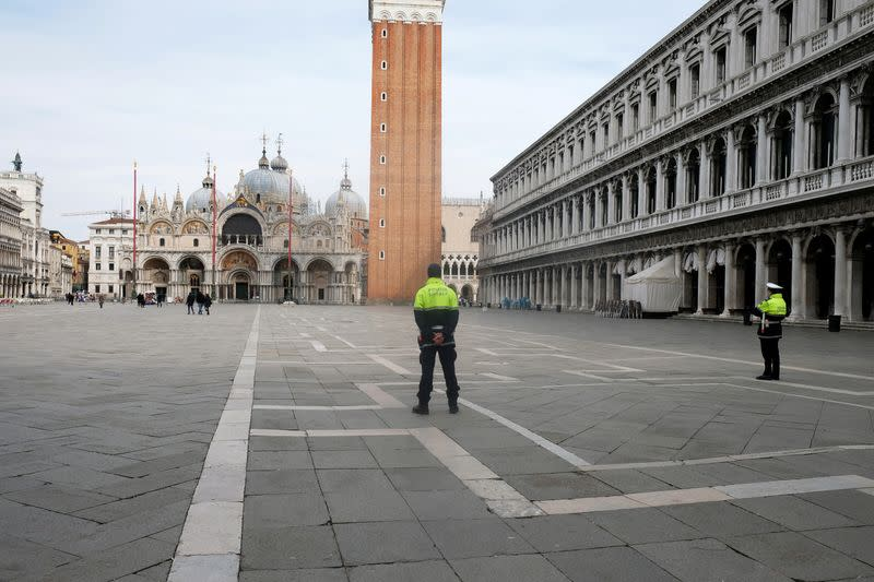 The almost empty St. Mark?s Square is seen after the Italian government imposed a virtual lockdown on the north of Italy including Venice to try to contain a coronavirus outbreak, in Venice