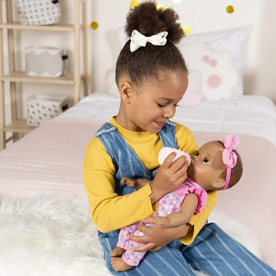 "<p>The <a href=""https://www.popsugar.com/buy/Luvabella-Newborn-Doll-478916?p_name=Luvabella%20Newborn%20Doll&retailer=amazon.com&pid=478916&price=60&evar1=moms%3Aus&evar9=45804853&evar98=https%3A%2F%2Fwww.popsugar.com%2Ffamily%2Fphoto-gallery%2F45804853%2Fimage%2F46490247%2FLuvabella-Newborn&list1=gifts%2Ctoys%2Cgift%20guide%2Ctoy%20fair%2Cgifts%20for%20kids%2Ckids%20toys%2Cgifts%20for%20toddlers%2Cbest%20of%202019&prop13=api&pdata=1"" rel=""nofollow"" data-shoppable-link=""1"" target=""_blank"" class=""ga-track"" data-ga-category=""Related"" data-ga-label=""https://www.amazon.com/dp/B07NJHK8VC/"" data-ga-action=""In-Line Links"">Luvabella Newborn Doll</a> ($60) acts just like a sweet newborn baby - she sleeps (and actually breathes while doing so!), babbles, eats, and sucks on a pacifier.</p>"