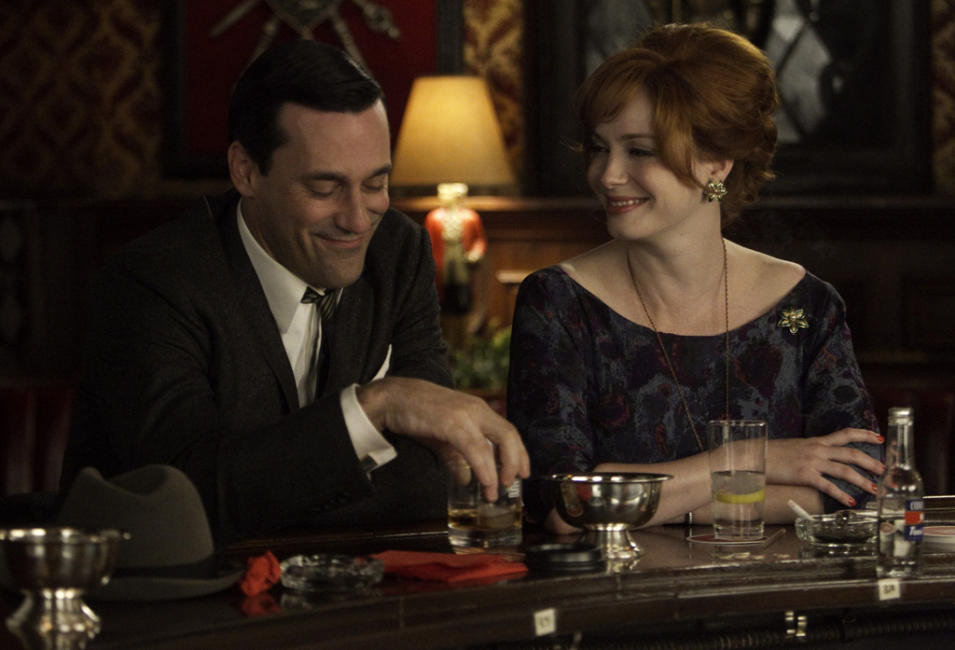 Don Draper (Jon Hamm) and Joan Harris (Christina Hendricks)