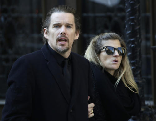 Ethan Hawke arrives for the funeral of actor Philip Seymour Hoffman at the Church of St. Ignatius Loyola, Friday, Feb. 7, 2014 in New York. Hoffman, 46, was found dead Sunday of an apparent heroin overdose. (AP Photo/Mark Lennihan)