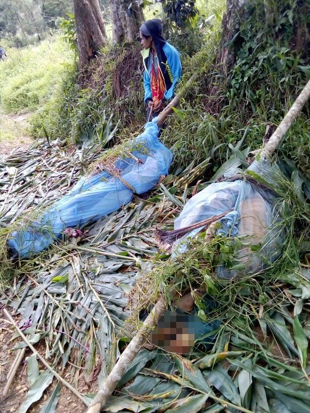 Two victims can be seen in bags tied to long wooden poles.