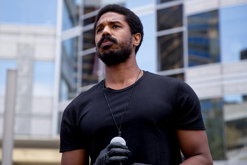 BEVERLY HILLS, CALIFORNIA - JUNE 06: Michael B. Jordan participates in the Hollywood talent agencies march to support Black Lives Matter protests on June 06, 2020 in Beverly Hills, California. (Photo by Rich Fury/Getty Images)