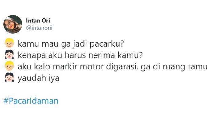 Chat nembak pacar (Sumber: Twitter/intanorii)