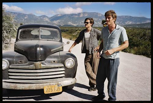 "This undated publicity film image released by IFC Films/Sundance Selects shows Sam Riley, left, as Sal Paradise/Jack Kerouac and Garrett Hedlund, right, as Dean Moriarity/Neal Cassady in a scene from the film, ""On the Road,"" directed by Walter Salles. (AP Photo/IFC Films/Sundance Selects, Gregory Smith)"