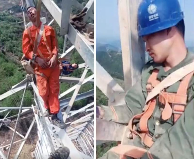 Chinese electrical workers have been filmed sleeping 50 metres from the ground. Source: Newsflare