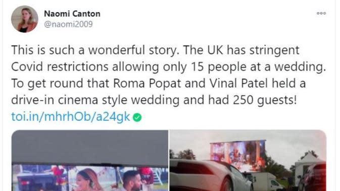 Cara Unik Pasangan di Inggris Gelar Resepsi Pernikahan dengan Banyak Tamu. (dok.Twitter @naomi2009/https://twitter.com/naomi2009/status/1314001566056304640/Henry)