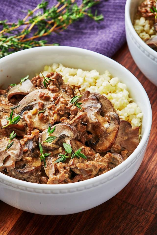 "<p>This dish is like a hug in a bowl.</p><p>Get the recipe from <a href=""https://www.delish.com/cooking/recipe-ideas/a30707105/keto-beef-stroganoff-recipe/"" target=""_blank"">Delish.</a></p>"