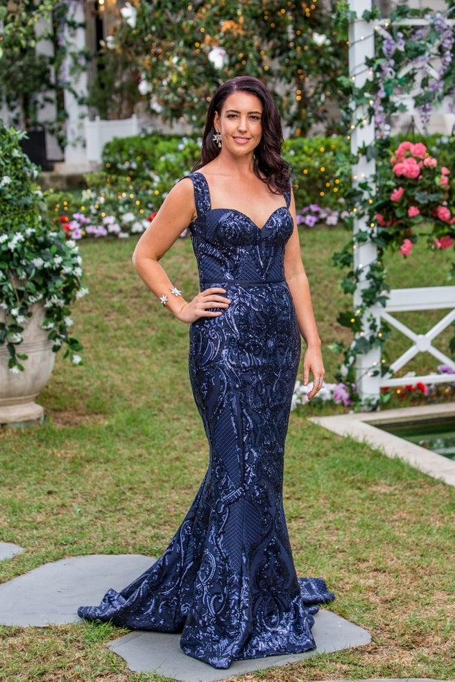 Jessie Ashley in a sparkly navy dress on The Bachelor