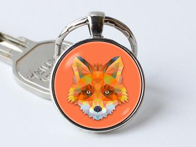 Fox Keyring Wildlife Charm Necklace Animal Necklace SMALL Personalized Necklace Silver Key Ring Custom Key Ring Abstract Fox Keychain