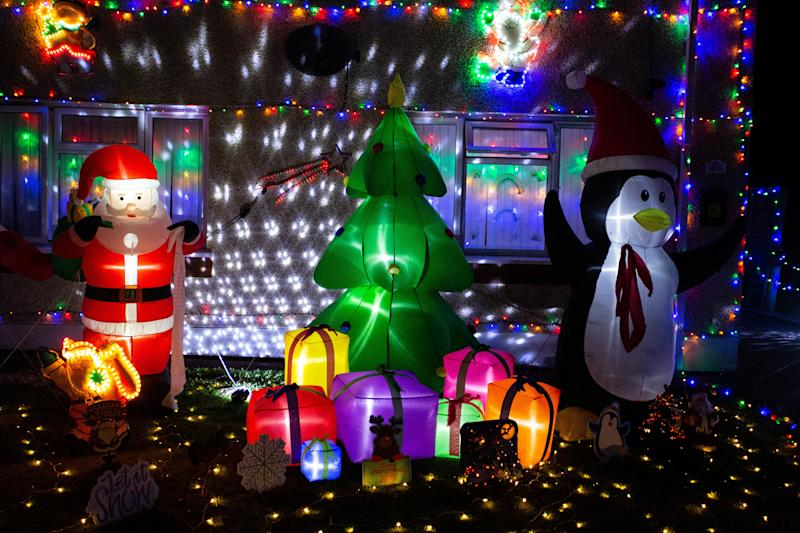 The mum estimates she has over 30,000 lights on display outside her home. (SWNS)