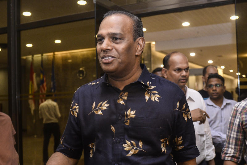 MIC deputy president and Tapah MP M. Saravanan speaks to reporters at PWTC February 24, 2020. — Picture by Miera Zulyana
