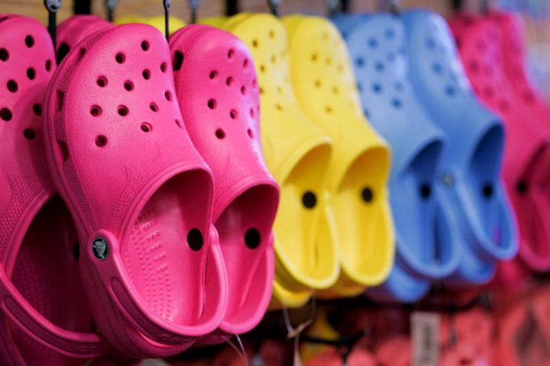 The man was wearing a pair of Crocs shoes, which he lost in the fray