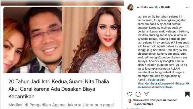 Nita Thalia Ungkap Sudah 4 Kali Gugat Cerai Suami, Namun Bertahan Karena Anak. (instagram.com/nitatalia.real)