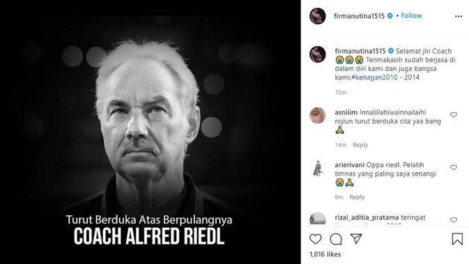 Mantan kapten Timnas Indonesia Firman Utina berduka cita atas meninggalnya Alfred Riedl. (foto: https://www.instagram.com/firmanutina1515)
