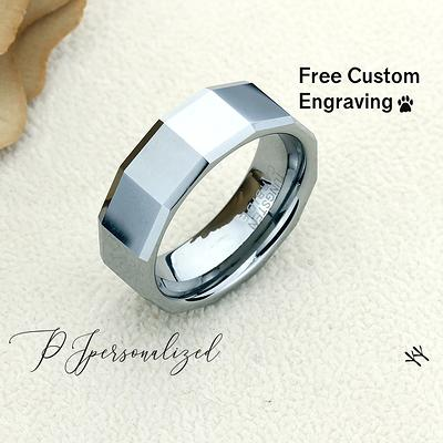 8mm Tungsten Wedding Band Men Tungsten Promise Ring For Men Square Pattern Beveled Edges Tungsten Ring Men Personalized Ring