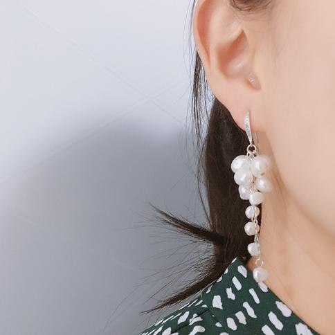 Freshwater Pearl Cluster Earrings on Argentium Silver French Hooks gift for her gift wrapped dangle handmade real pearl earrings