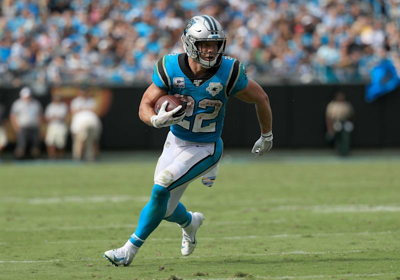 CHARLOTTE, NORTH CAROLINA - OCTOBER 06: Christian McCaffrey #22 of the Carolina Panthers runs with the ball against the Jacksonville Jaguars during their game at Bank of America Stadium on October 06, 2019 in Charlotte, North Carolina. (Photo by Streeter Lecka/Getty Images)