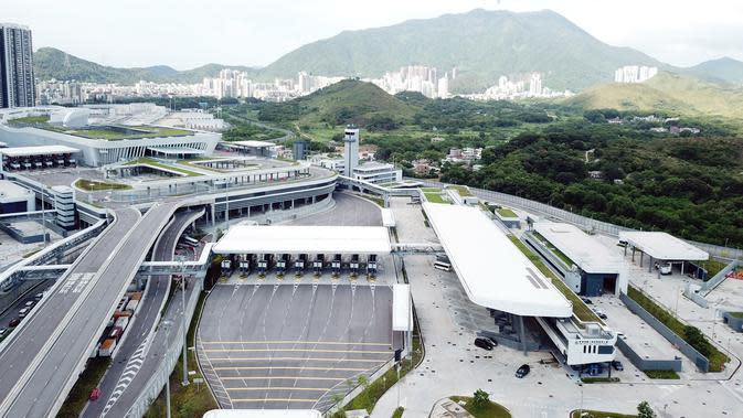 Foto dari udara yang diabadikan pada 26 Agustus 2020 ini menunjukkan Pos Pemeriksaan Perbatasan Pelabuhan Liantang/Heung Yuen Wai di perbatasan Hong Kong-Shenzhen di China selatan. (Xinhua/Mao Siqian)