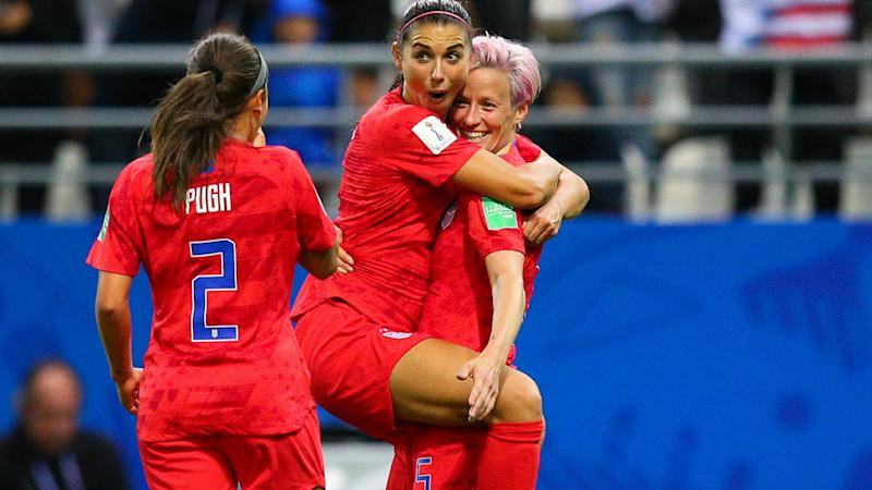 Alex Morgan celebrates with teammates after scoring her side's twelfth goal. (Photo by Craig Mercer/MB Media/Getty Images)
