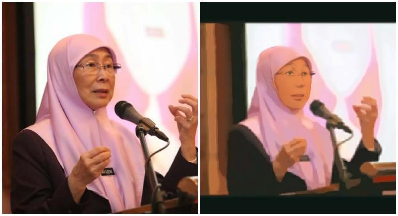 Wan Azizah and Anime Wan Azizah. Original photo by Wan Azizah/Facebook